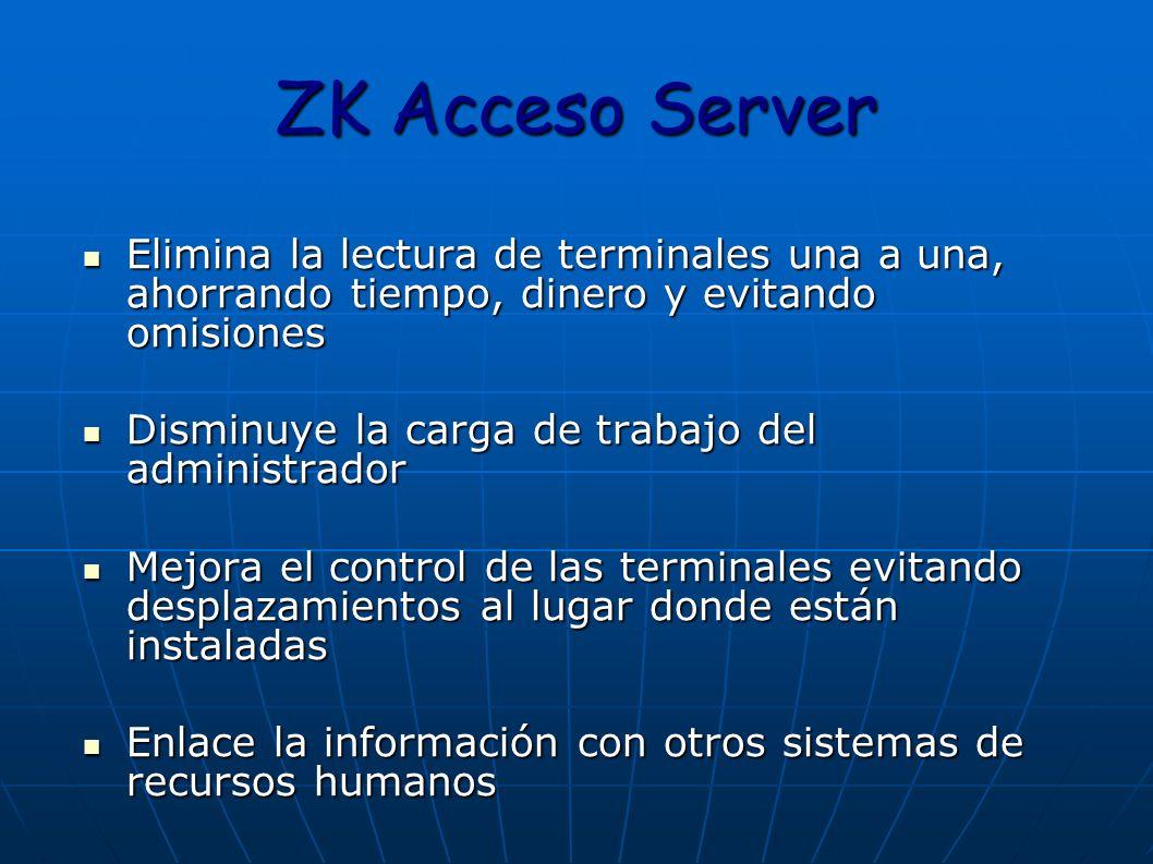 ZK Acceso Server Elimina la lectura de terminales una a una, ahorrando tiempo, dinero y evitando omisiones.