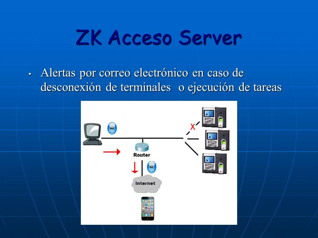 ZK Acceso Server Alertas por correo electrónico en caso de desconexión de terminales o ejecución de tareas.