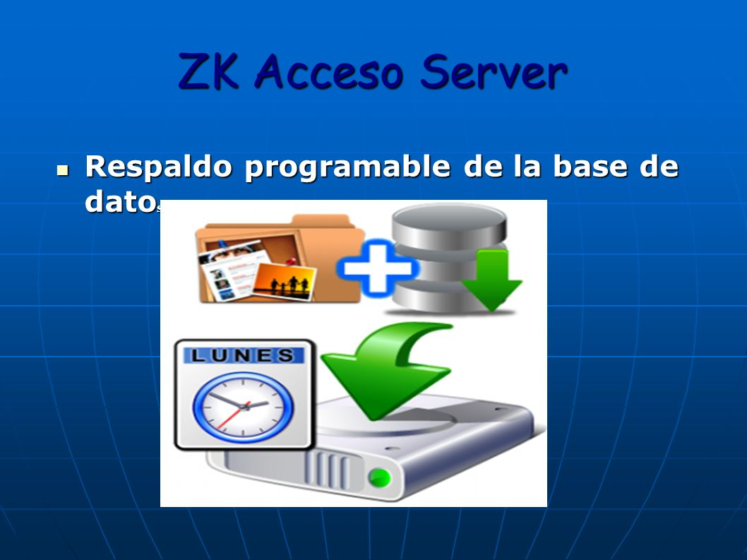ZK Acceso Server Respaldo programable de la base de datos.