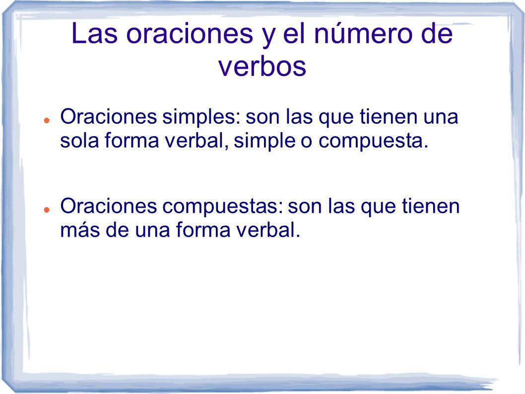 Las oraciones y el número de verbos