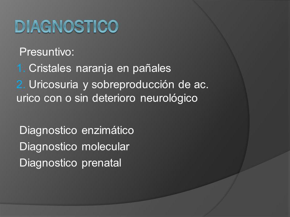 DIAGNOSTICO Presuntivo: 1. Cristales naranja en pañales