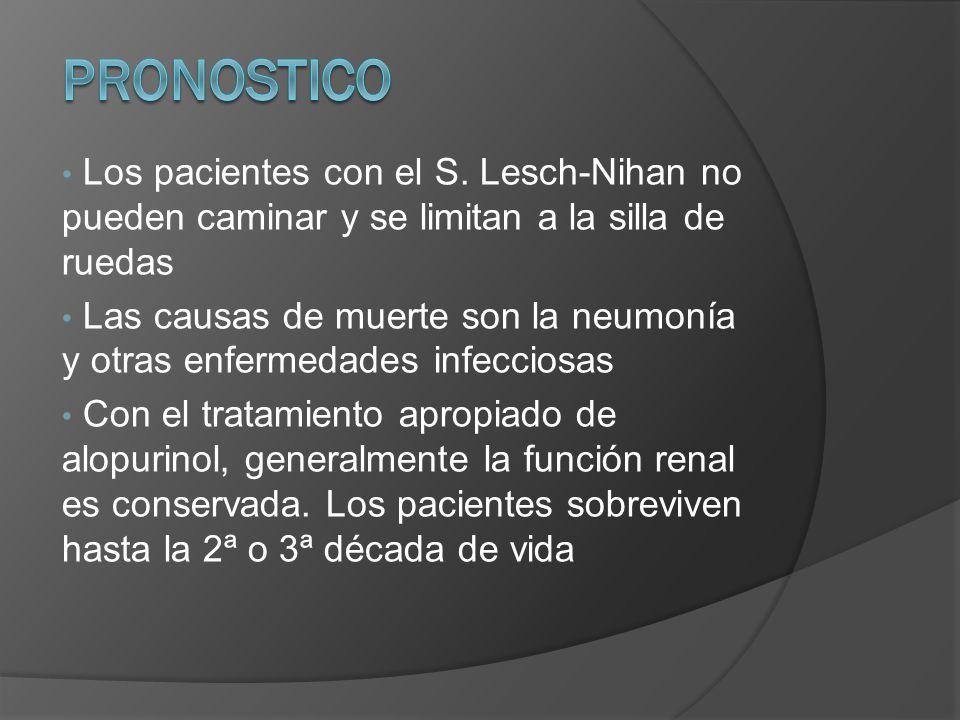 PRONOSTICO Los pacientes con el S. Lesch-Nihan no pueden caminar y se limitan a la silla de ruedas.