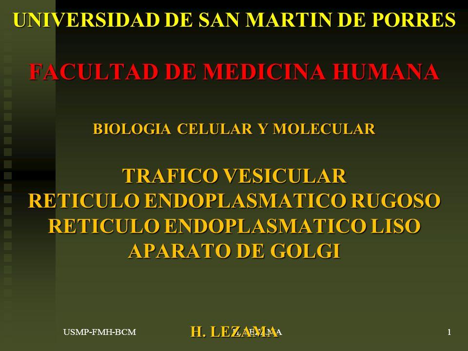 UNIVERSIDAD DE SAN MARTIN DE PORRES FACULTAD DE MEDICINA HUMANA BIOLOGIA CELULAR Y MOLECULAR TRAFICO VESICULAR RETICULO ENDOPLASMATICO RUGOSO RETICULO ENDOPLASMATICO LISO APARATO DE GOLGI H. LEZAMA