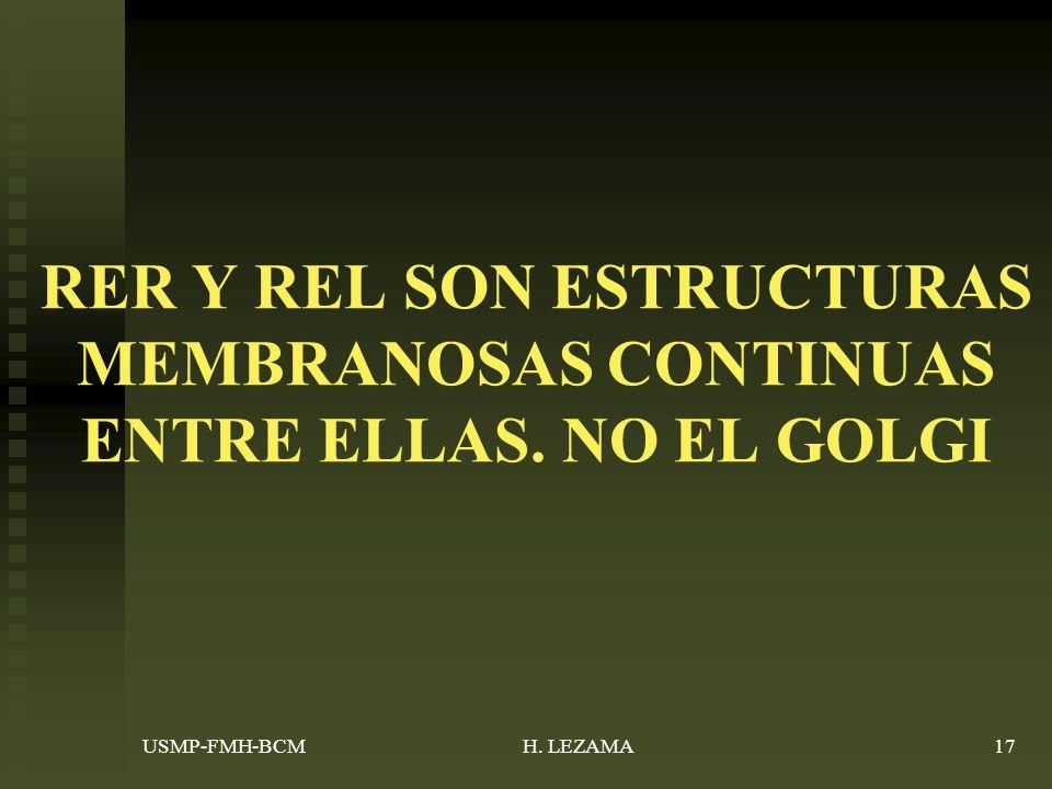 RER Y REL SON ESTRUCTURAS MEMBRANOSAS CONTINUAS ENTRE ELLAS