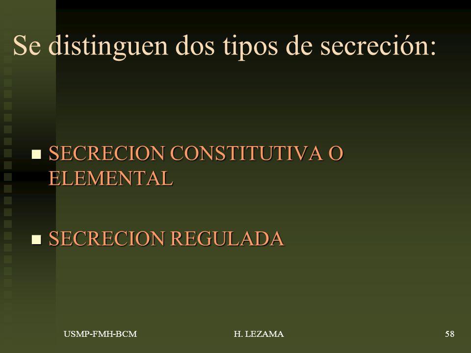 Se distinguen dos tipos de secreción: