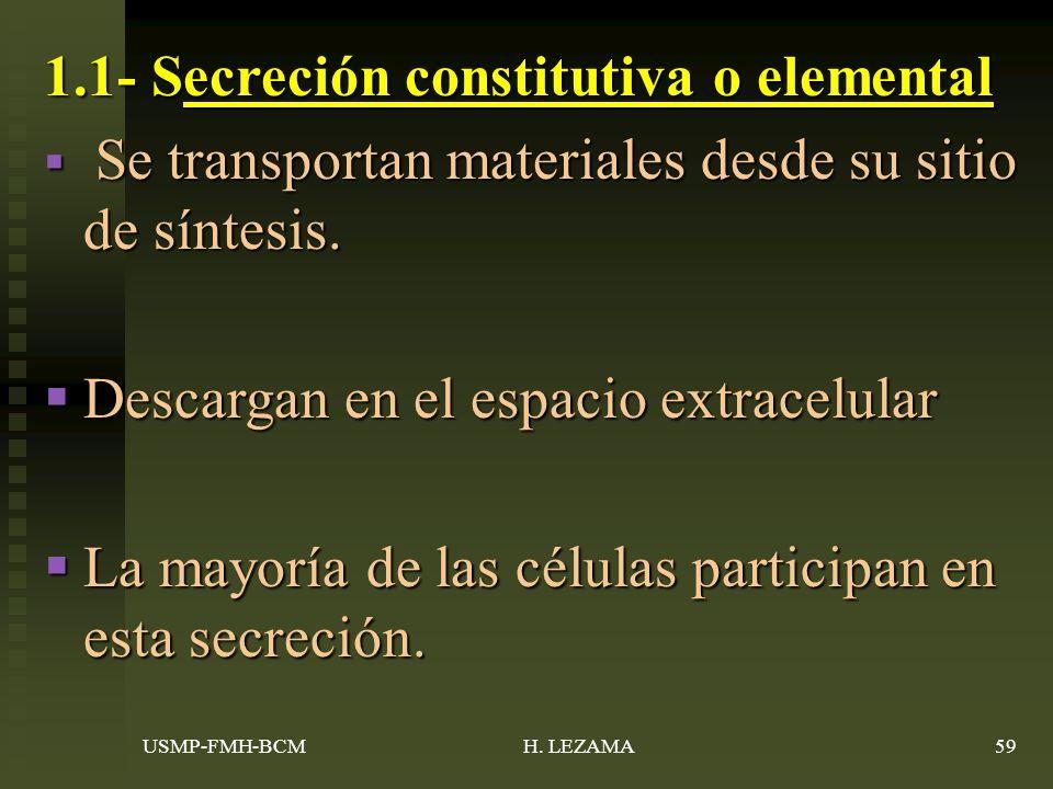 1.1- Secreción constitutiva o elemental
