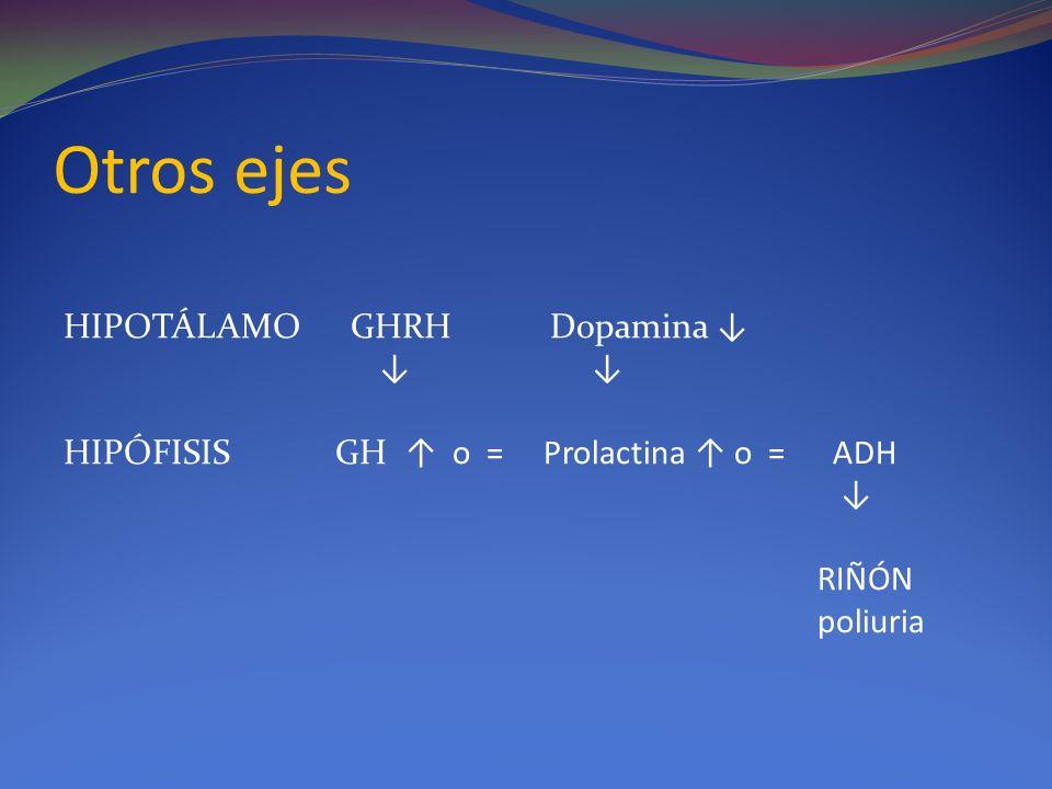Otros ejes HIPOTÁLAMO GHRH Dopamina ↓ ↓ ↓