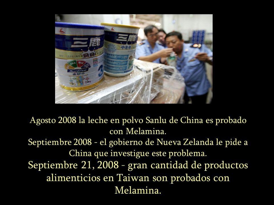 Agosto 2008 la leche en polvo Sanlu de China es probado con Melamina