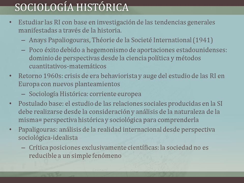 Sociología histórica Estudiar las RI con base en investigación de las tendencias generales manifestadas a través de la historia.