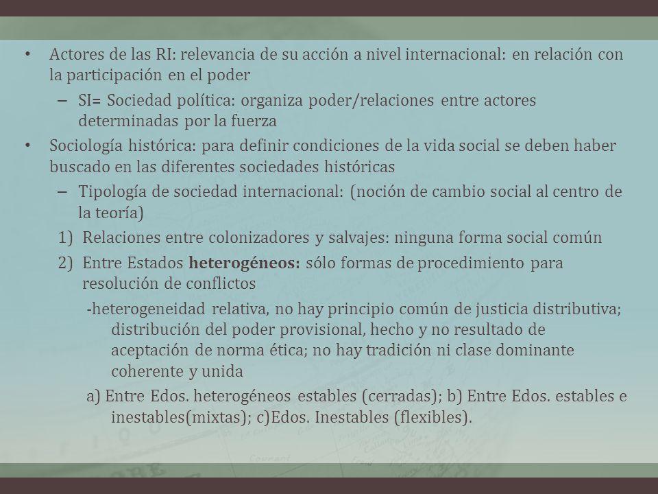 Actores de las RI: relevancia de su acción a nivel internacional: en relación con la participación en el poder