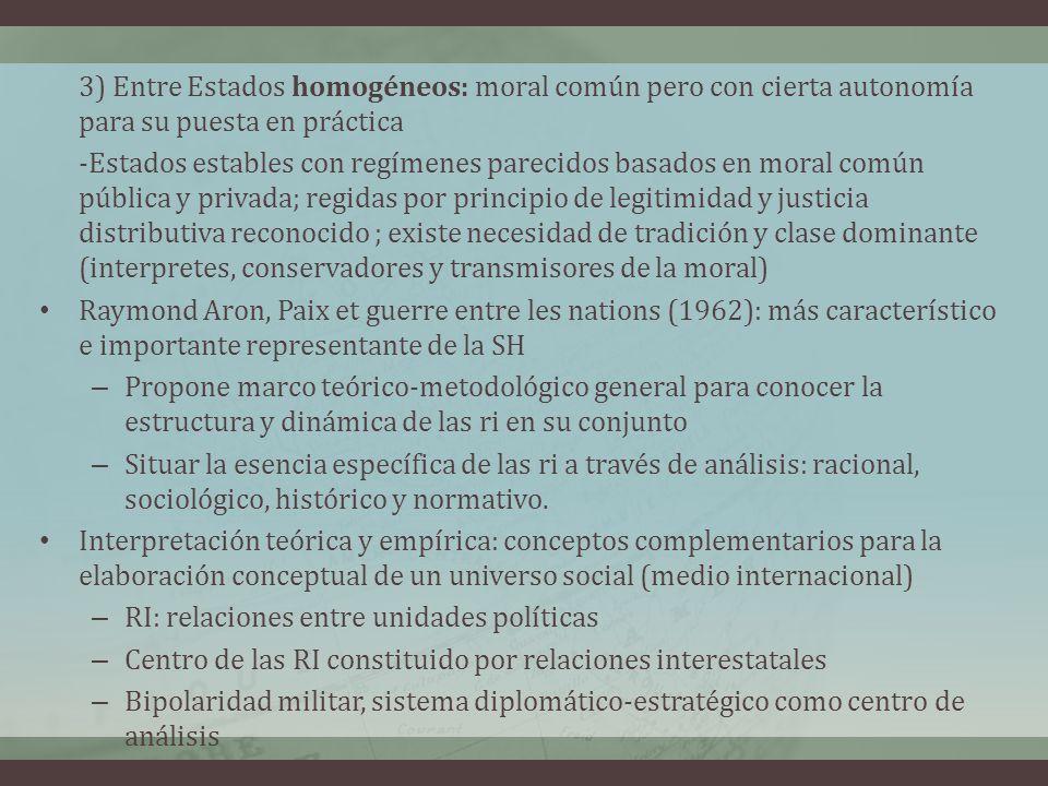 3) Entre Estados homogéneos: moral común pero con cierta autonomía para su puesta en práctica