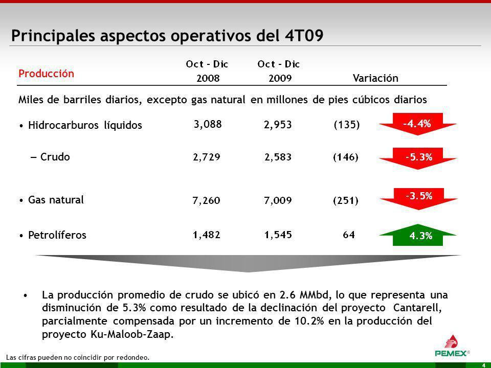 Principales aspectos operativos del 4T09