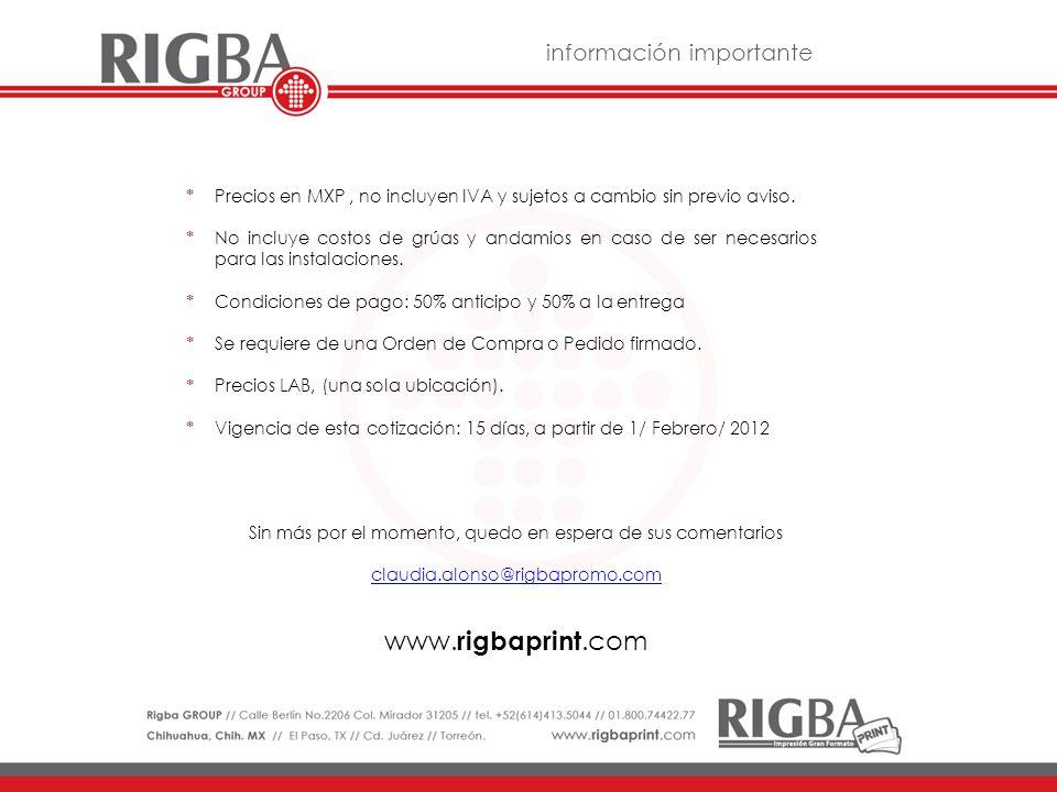 www.rigbaprint.com información importante *