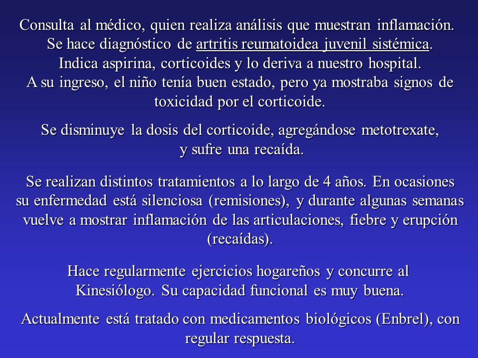 Consulta al médico, quien realiza análisis que muestran inflamación.