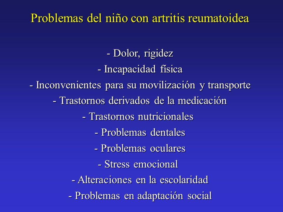 Problemas del niño con artritis reumatoidea