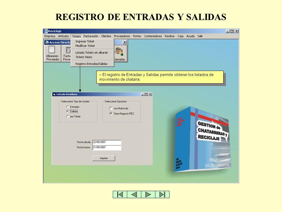 REGISTRO DE ENTRADAS Y SALIDAS