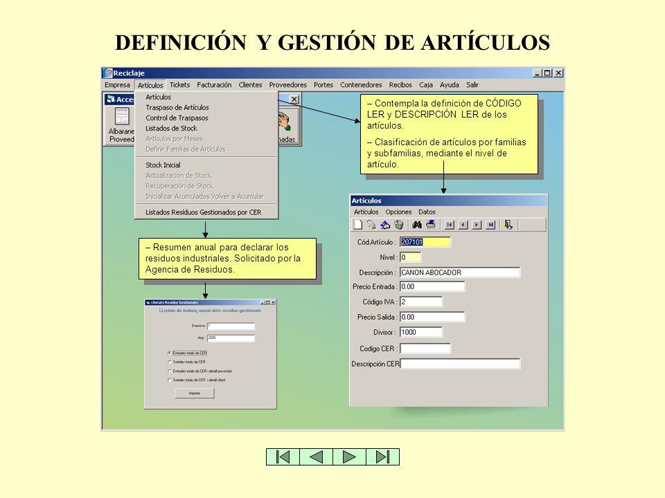 DEFINICIÓN Y GESTIÓN DE ARTÍCULOS