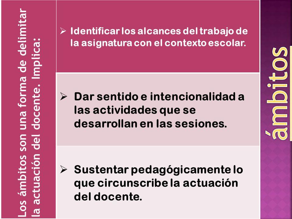 Los ámbitos son una forma de delimitar la actuación del docente