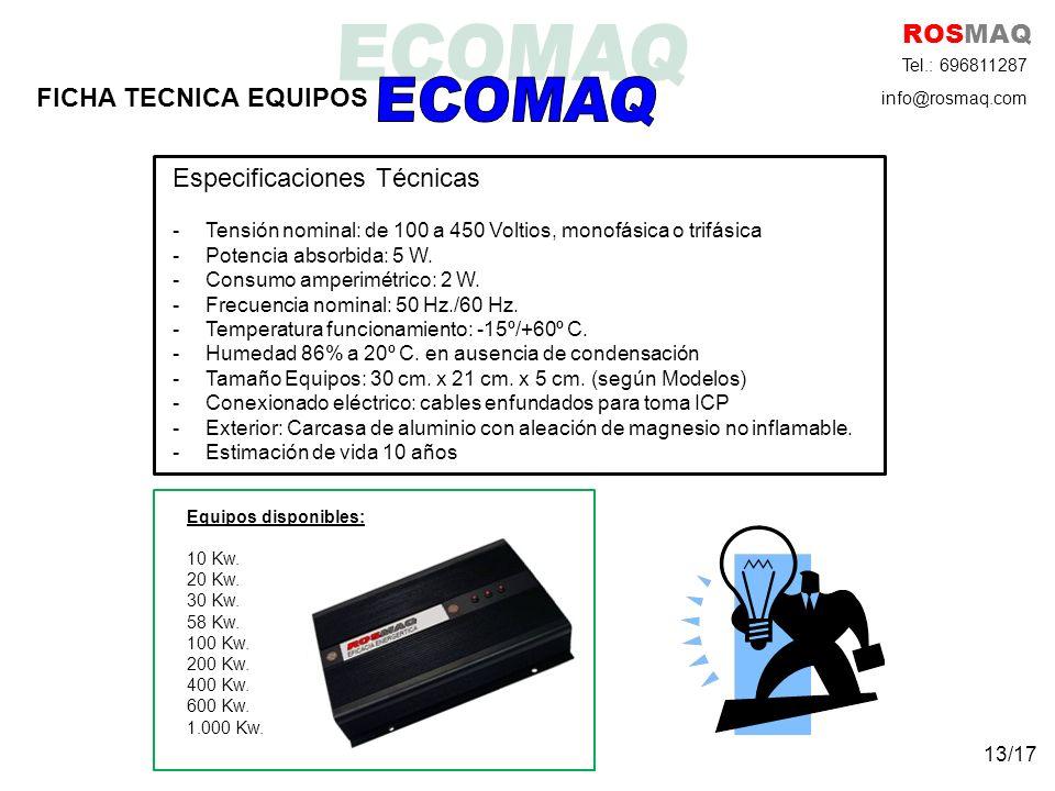 ECOMAQ ROSMAQ FICHA TECNICA EQUIPOS Especificaciones Técnicas