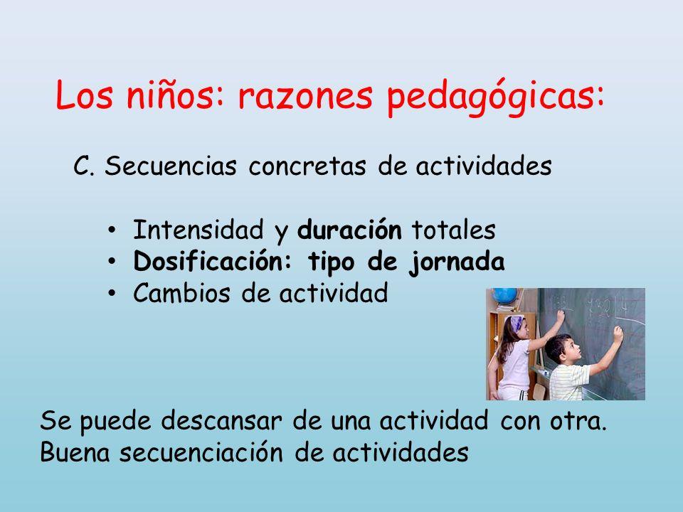 Los niños: razones pedagógicas: