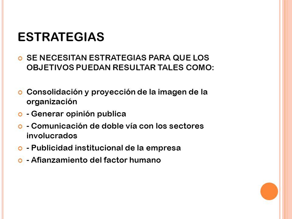 ESTRATEGIAS SE NECESITAN ESTRATEGIAS PARA QUE LOS OBJETIVOS PUEDAN RESULTAR TALES COMO: Consolidación y proyección de la imagen de la organización.