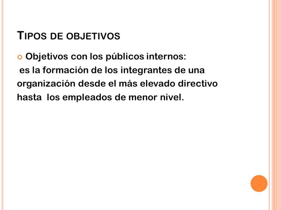 Tipos de objetivos Objetivos con los públicos internos: