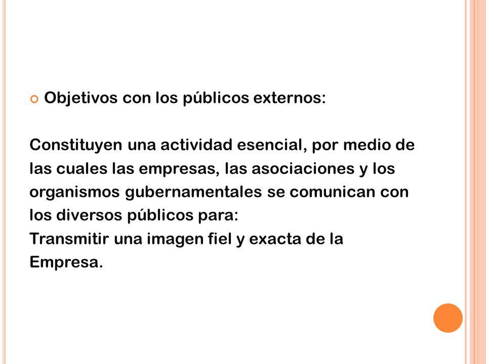 Objetivos con los públicos externos: