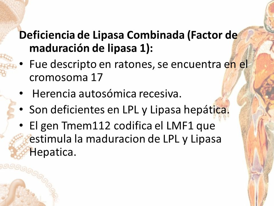 Deficiencia de Lipasa Combinada (Factor de maduración de lipasa 1):