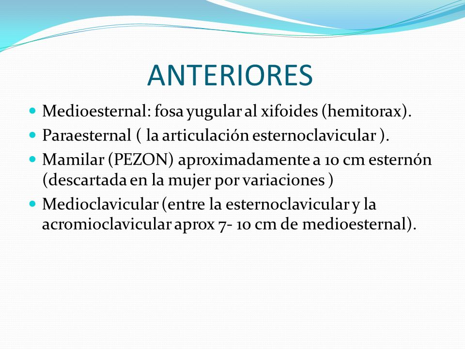 ANTERIORES Medioesternal: fosa yugular al xifoides (hemitorax).