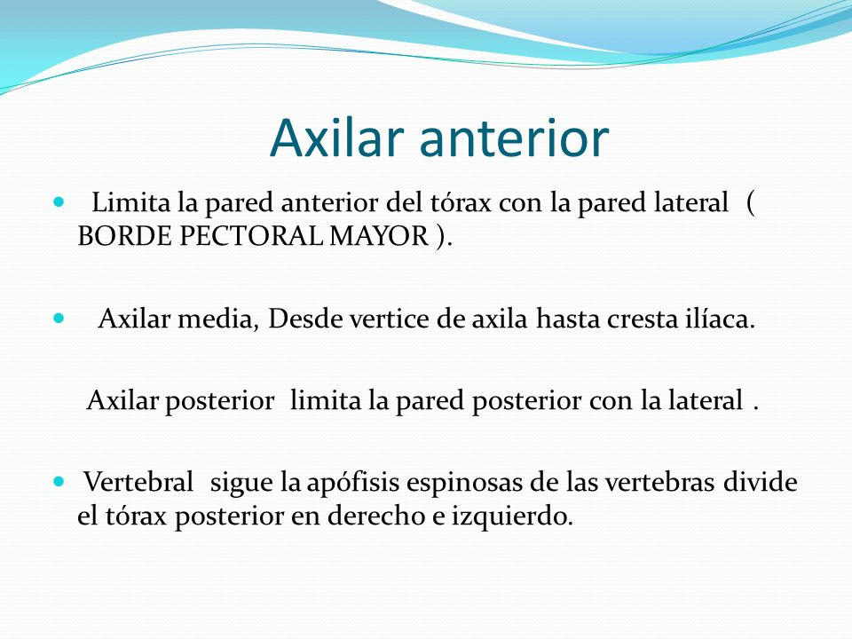 Axilar anterior Limita la pared anterior del tórax con la pared lateral ( BORDE PECTORAL MAYOR ).