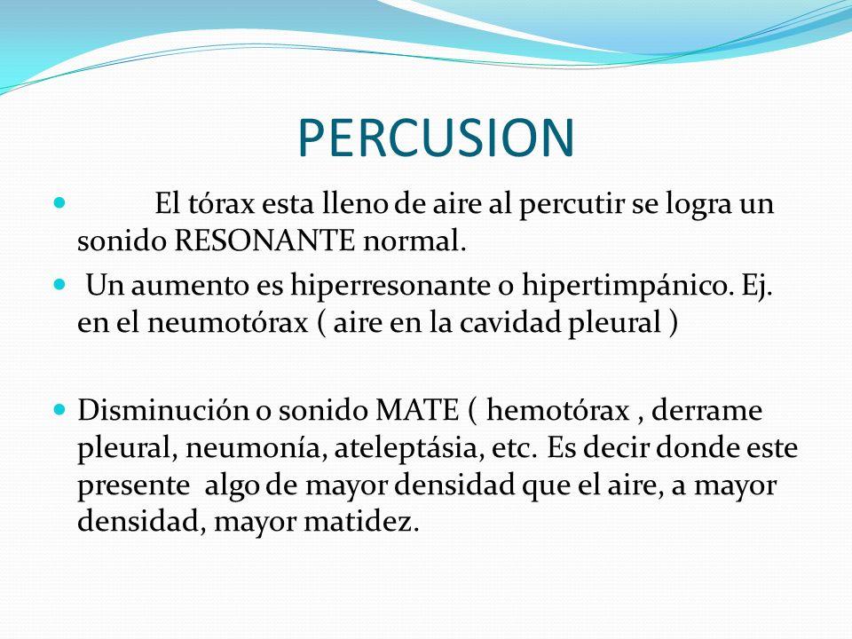 PERCUSION El tórax esta lleno de aire al percutir se logra un sonido RESONANTE normal.