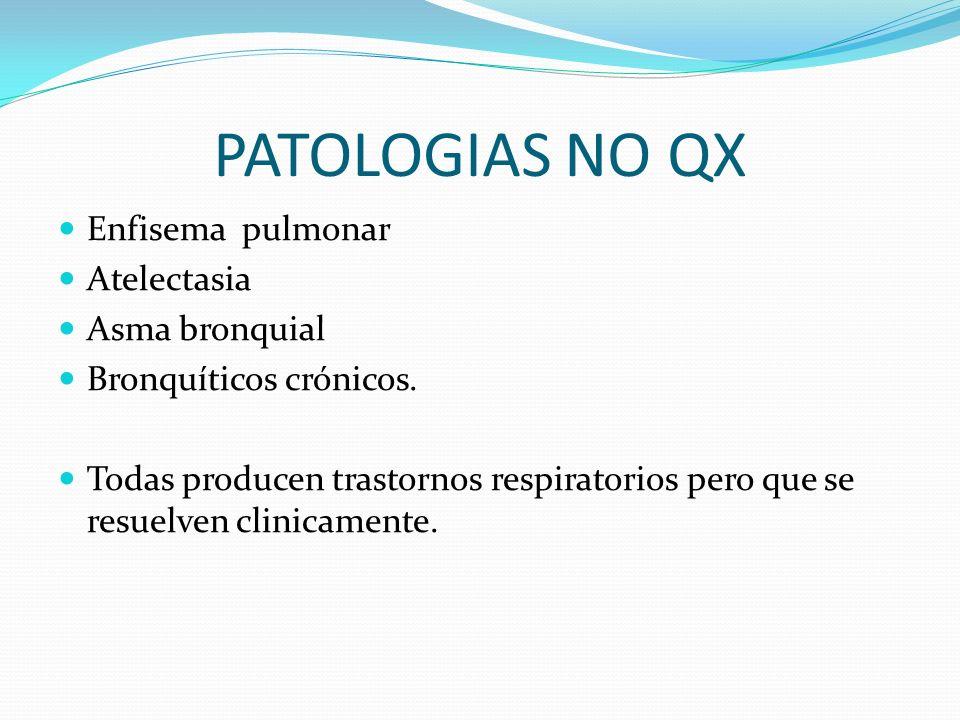 PATOLOGIAS NO QX Enfisema pulmonar Atelectasia Asma bronquial