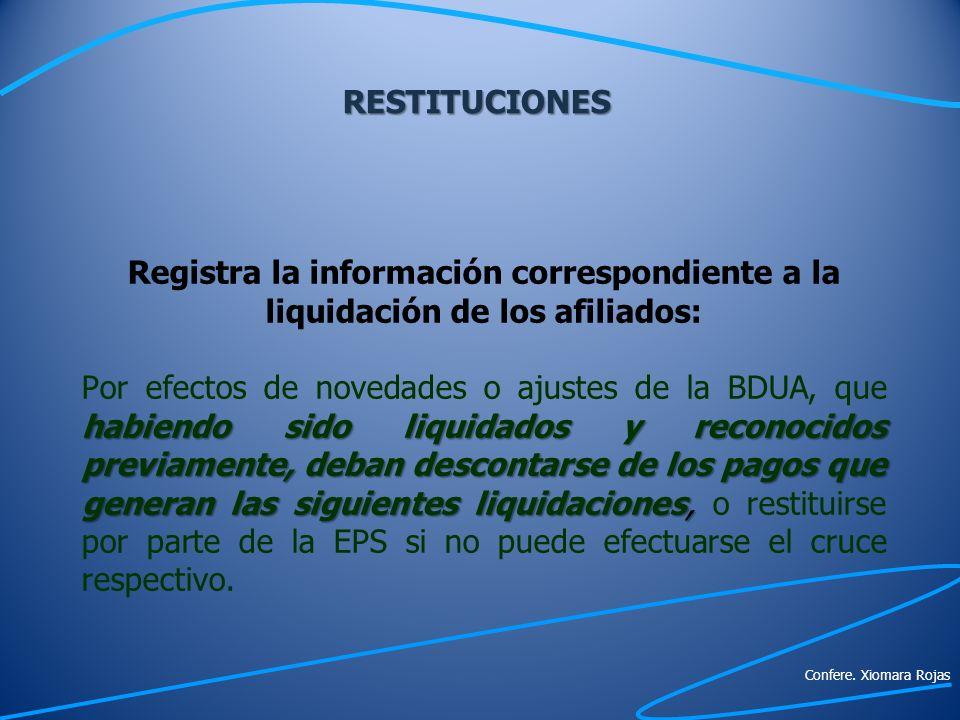 RESTITUCIONES Registra la información correspondiente a la liquidación de los afiliados: