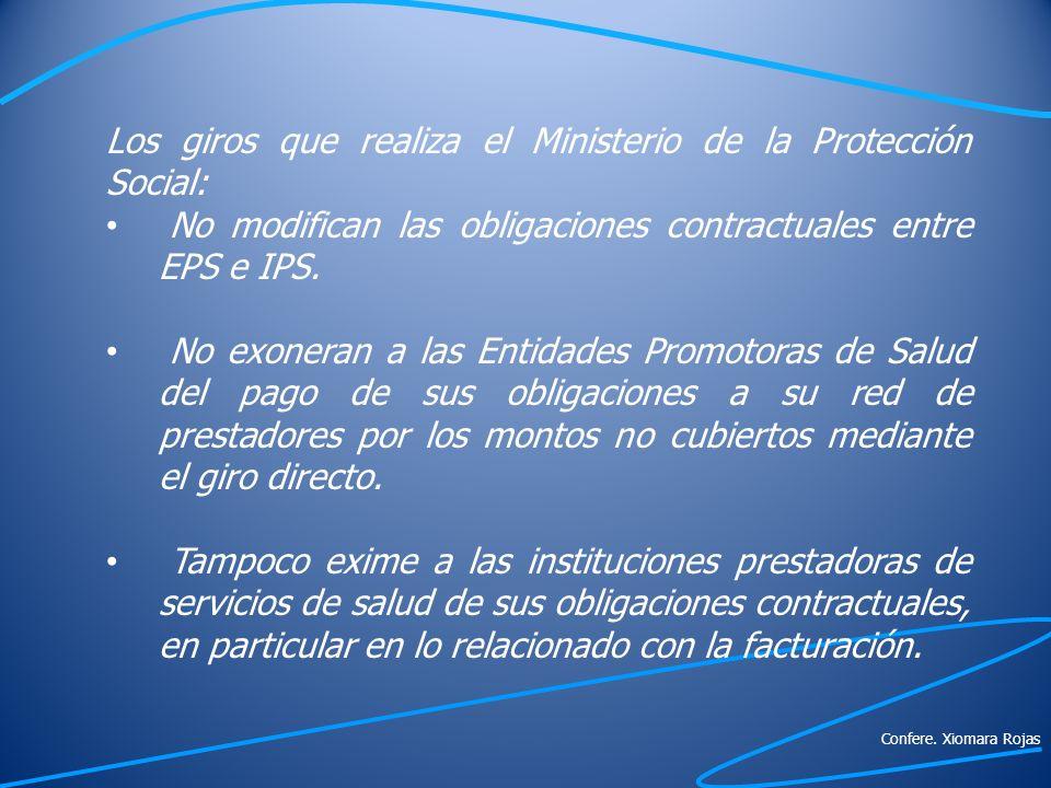 Los giros que realiza el Ministerio de la Protección Social: