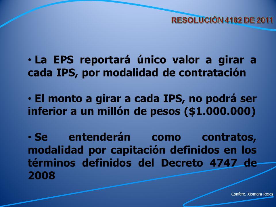RESOLUCIÓN 4182 DE 2011 La EPS reportará único valor a girar a cada IPS, por modalidad de contratación.