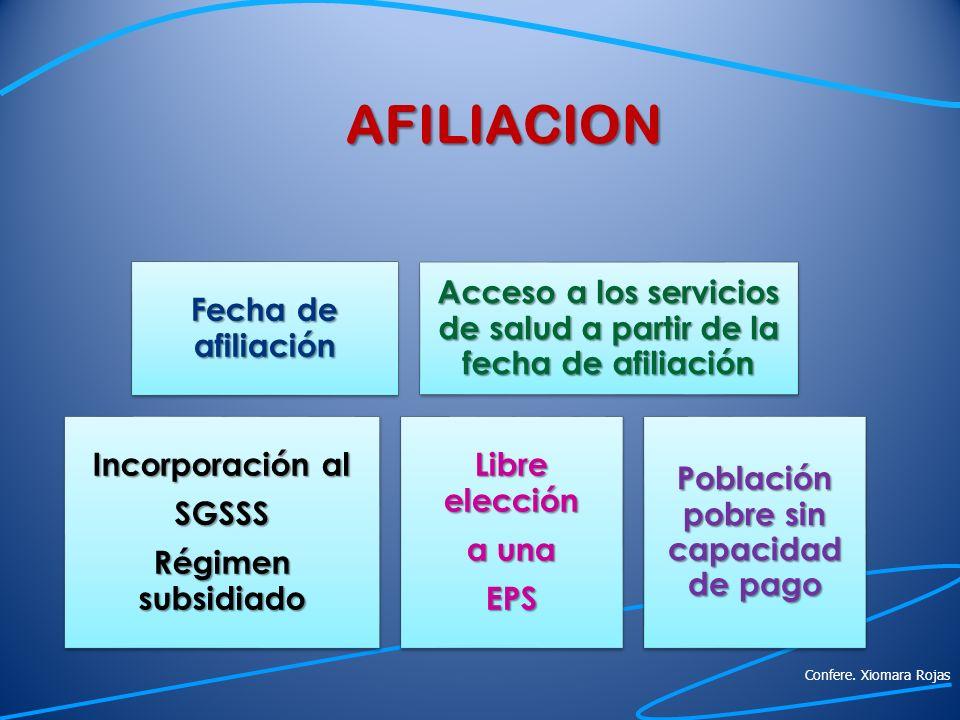 AFILIACION Fecha de afiliación. Acceso a los servicios de salud a partir de la fecha de afiliación.