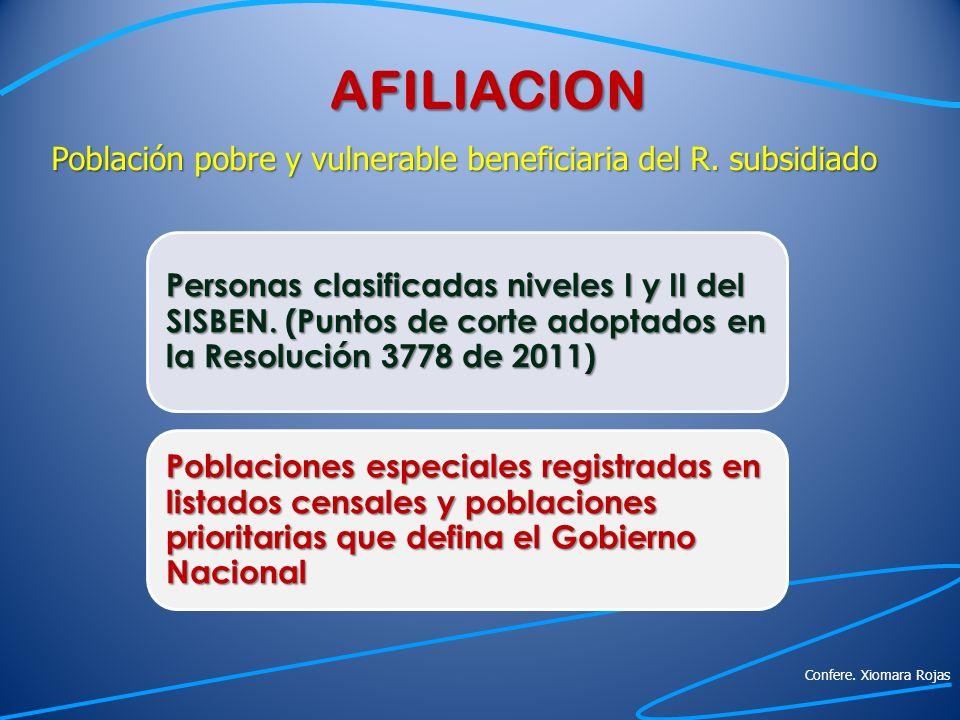 AFILIACION Población pobre y vulnerable beneficiaria del R. subsidiado.