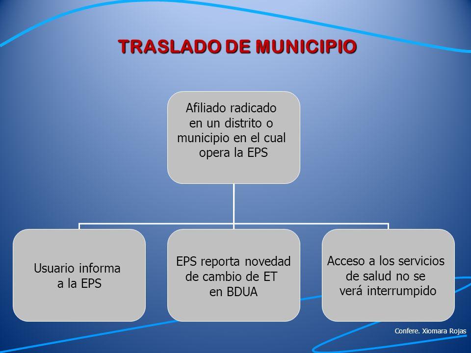 TRASLADO DE MUNICIPIO EPS reporta novedad Afiliado radicado