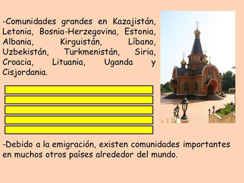 -Comunidades grandes en Kazajistán, Letonia, Bosnia-Herzegovina, Estonia, Albania, Kirguistán, Líbano, Uzbekistán, Turkmenistán, Siria, Croacia, Lituania, Uganda y Cisjordania.