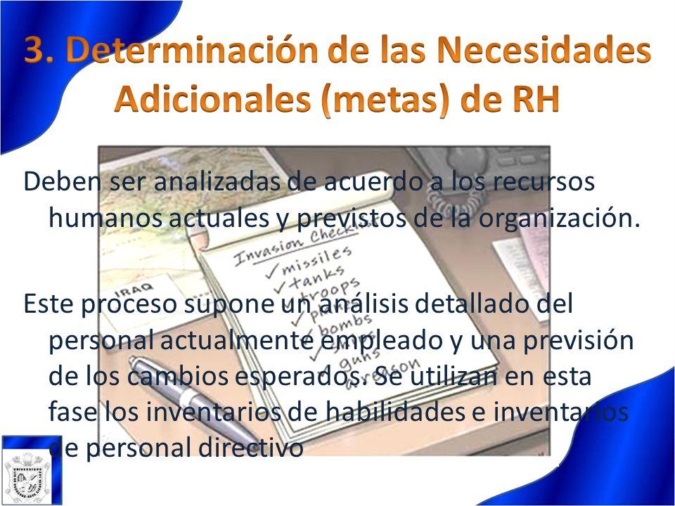 3. Determinación de las Necesidades Adicionales (metas) de RH