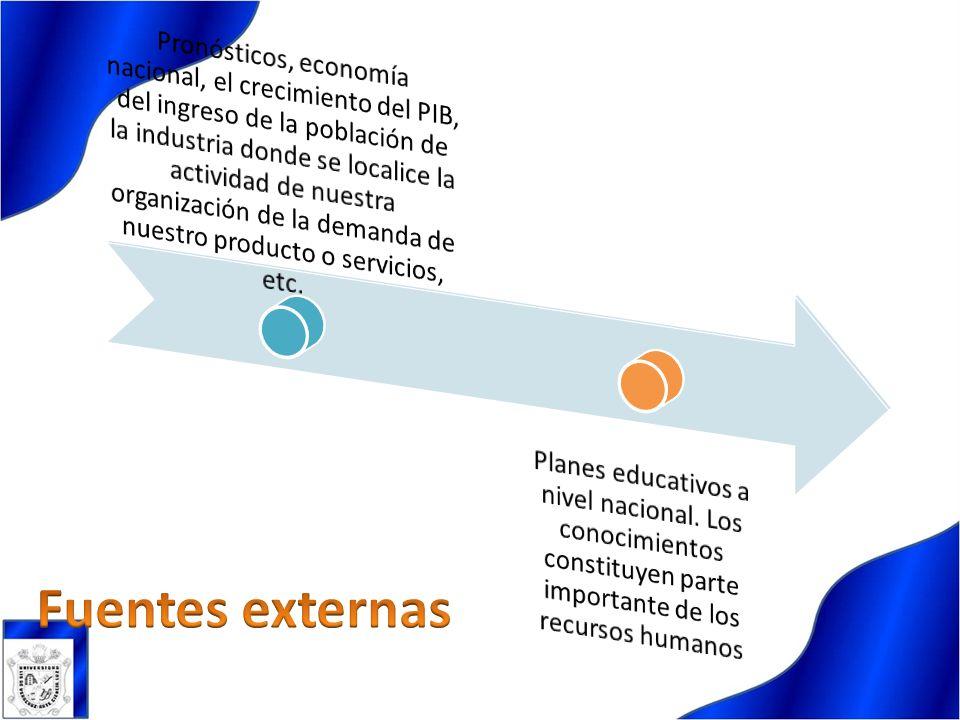 Pronósticos, economía nacional, el crecimiento del PIB, del ingreso de la población de la industria donde se localice la actividad de nuestra organización de la demanda de nuestro producto o servicios, etc.