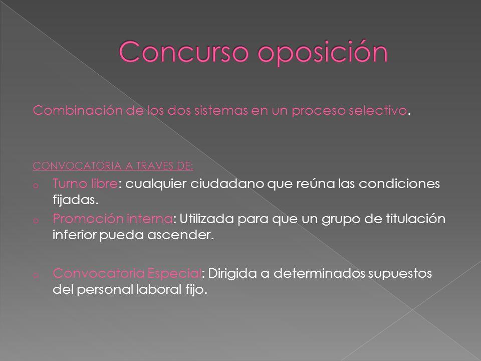 Concurso oposición Combinación de los dos sistemas en un proceso selectivo. CONVOCATORIA A TRAVES DE: