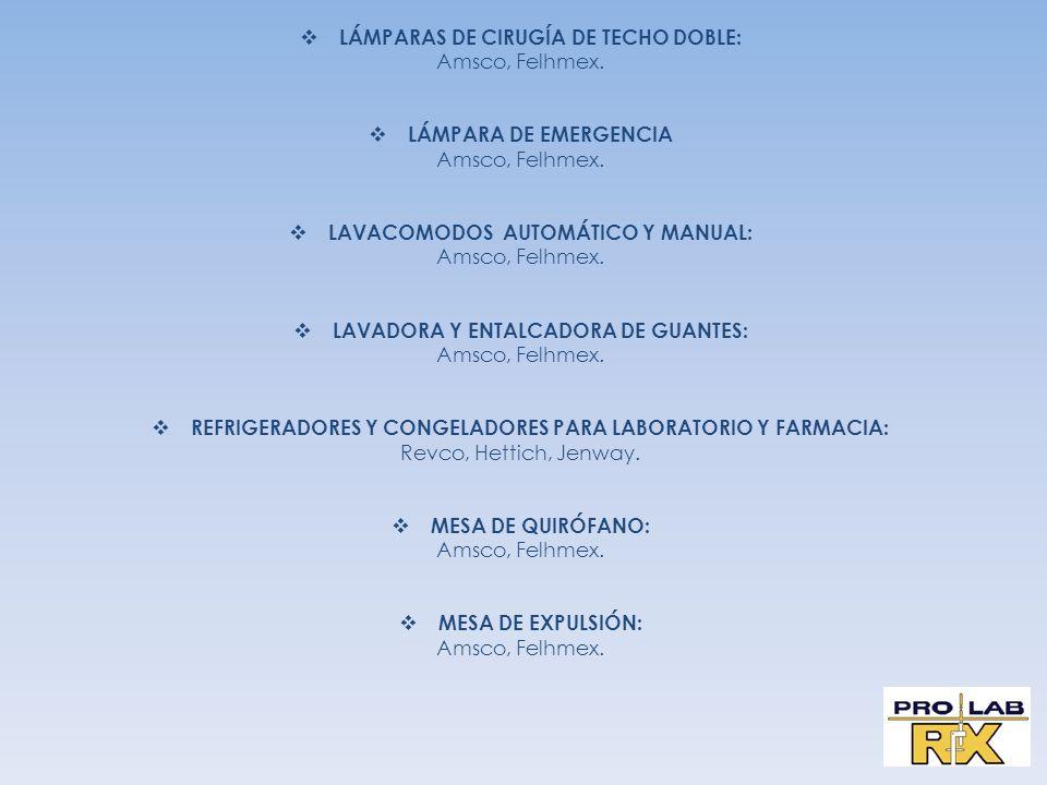 LÁMPARAS DE CIRUGÍA DE TECHO DOBLE: Amsco, Felhmex.