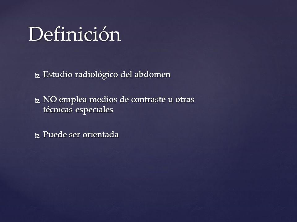 Definición Estudio radiológico del abdomen