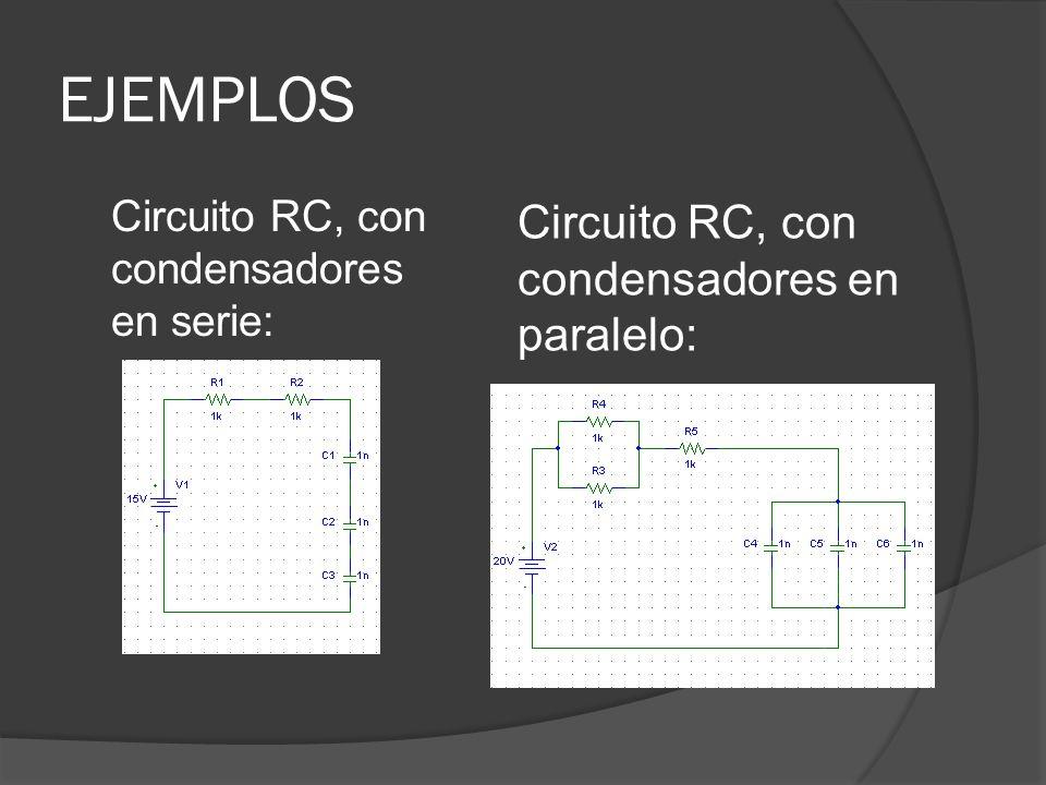 EJEMPLOS Circuito RC, con condensadores en paralelo: