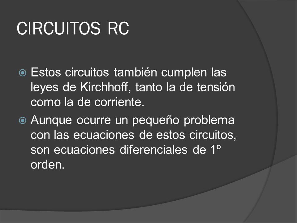 CIRCUITOS RC Estos circuitos también cumplen las leyes de Kirchhoff, tanto la de tensión como la de corriente.