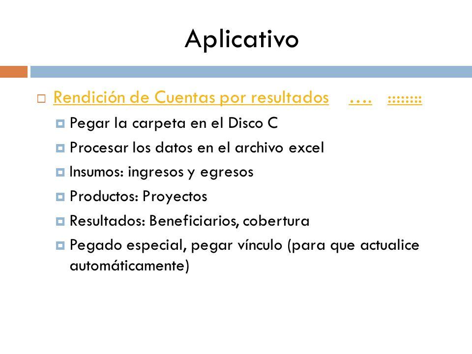 Aplicativo Rendición de Cuentas por resultados …. ::::::::