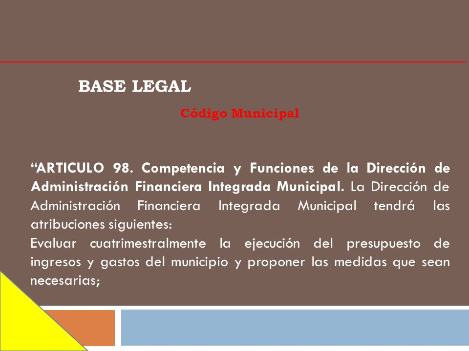 BASE LEGAL Código Municipal.
