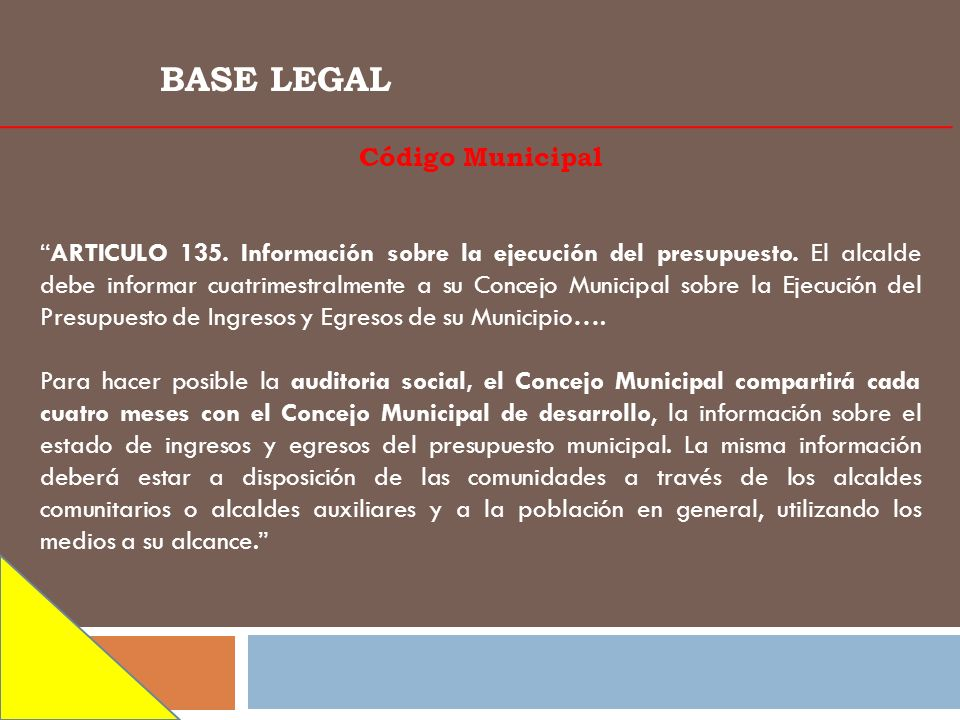 BASE LEGAL Código Municipal