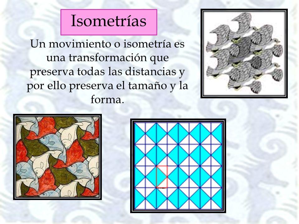 Isometrías Un movimiento o isometría es una transformación que preserva todas las distancias y por ello preserva el tamaño y la forma.
